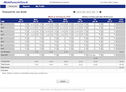 Employee Time Card Screenshot
